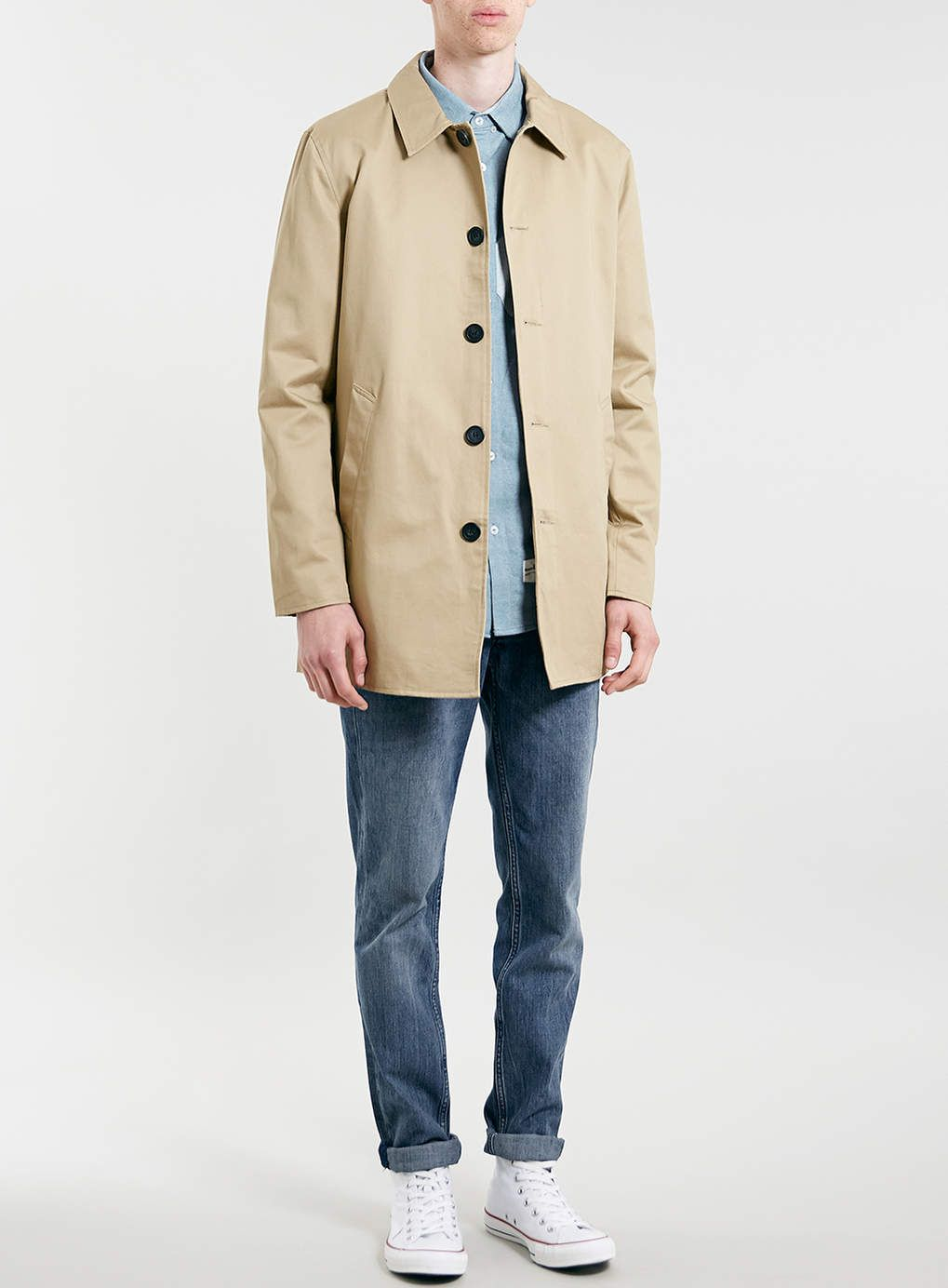 STONE SINGLE BREASTED TRENCH COAT  a9d4900cb16f2