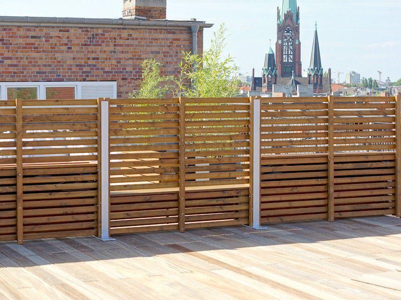 Sichtschutz Ecke mit Pflanzkasten Holz, Transparent Geölt