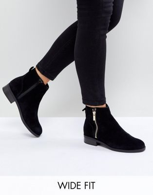 Suede Flat Ankle Boot - Black New Look