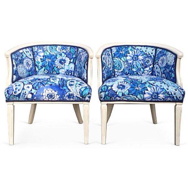 Vintage French Barrel Chair Custom Painted Indigo Monaco Royal Blue 4 615 Pen