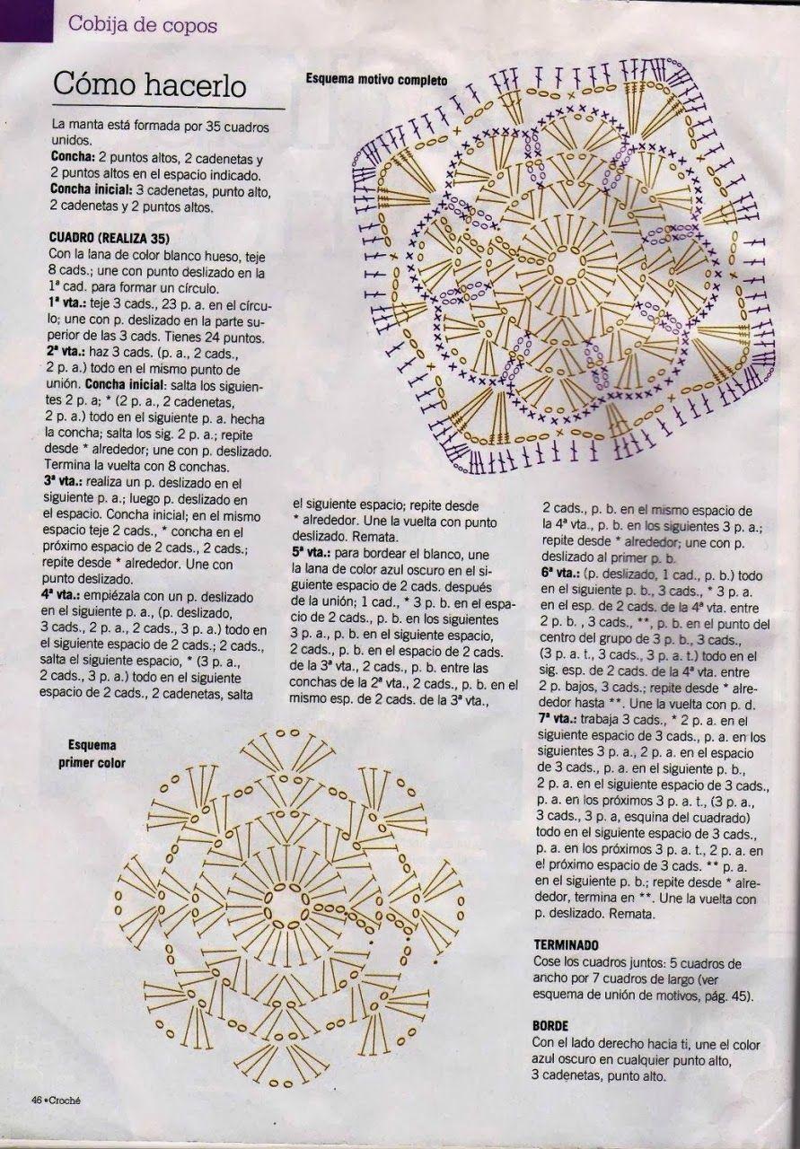 Manta Copo de Nieve Crochet Patron - Patrones Crochet | ZULAY ...