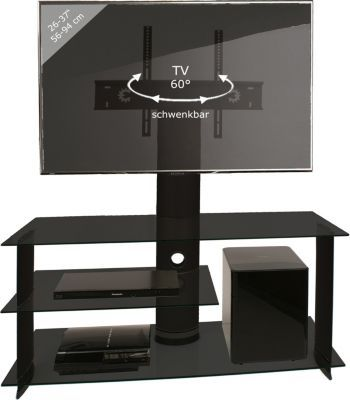 VCM TV-Rack Lowboard Konsole Fernsehtisch TV Möbel Bank Glastisch