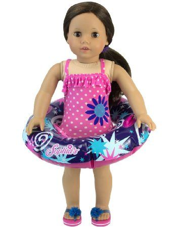 Robot Check Polka Dot Bathing Suit Pink Bathing Suits Doll Clothes American Girl