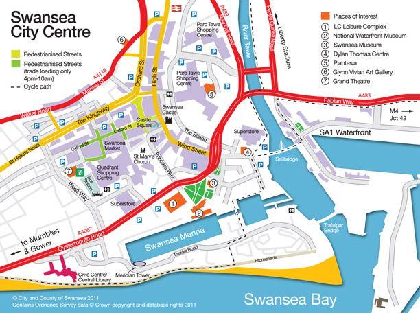 Swansea City Centre map Swansea City Pinterest Swansea