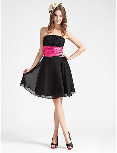 Black Strapless Knee Length Ruched Satin Dress