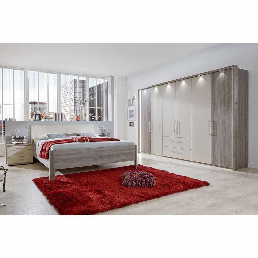 Komplett Schlafzimmer in Creme Weiß Eiche Trüffel (4-teilig) Jetzt ...