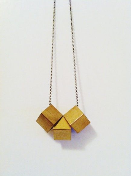 Whiskey  Wine: My Favorite Affordable Handmade Jewelry - Brass cubes necklace $24