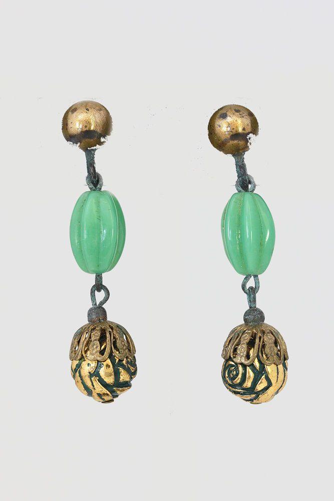 Vtg Screwback Earrings Pale Green Carved Glass Bead Goldtone Dangle Rosette #Unbranded #DropDangle