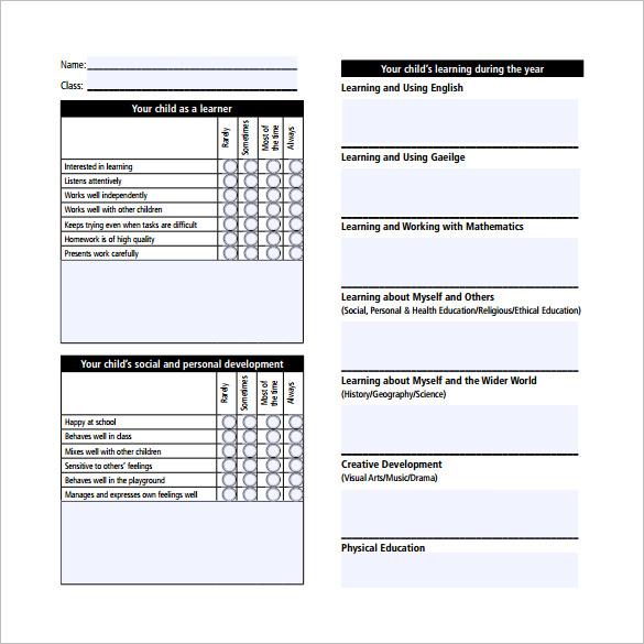 Report Card Template Pdf 8 Templates Example Templates Example Report Card Template School Report Card School Powerpoint Templates