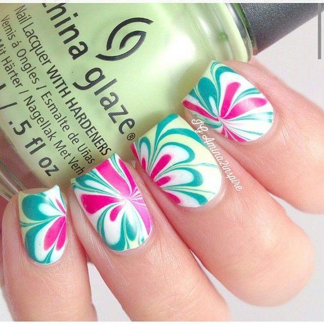Flores turquesa y rosa | Nails | Pinterest | Turquesa