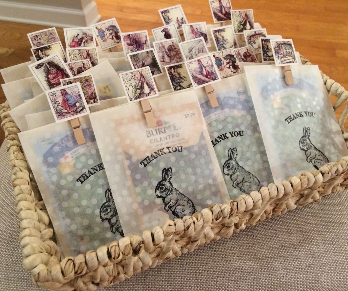 peter rabbit baby shower party favors seeds in baggies