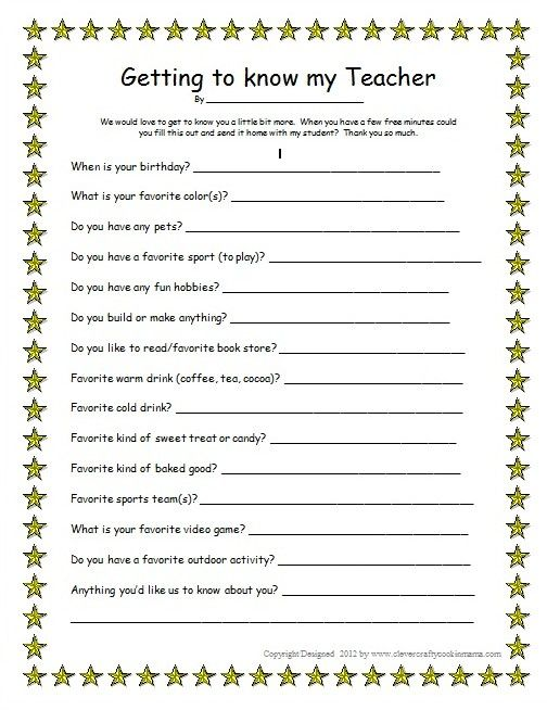 Getting To Know Your Teacher Male Free Printable Teacher Favorite Things Teacher Favorites Printable Your Teacher
