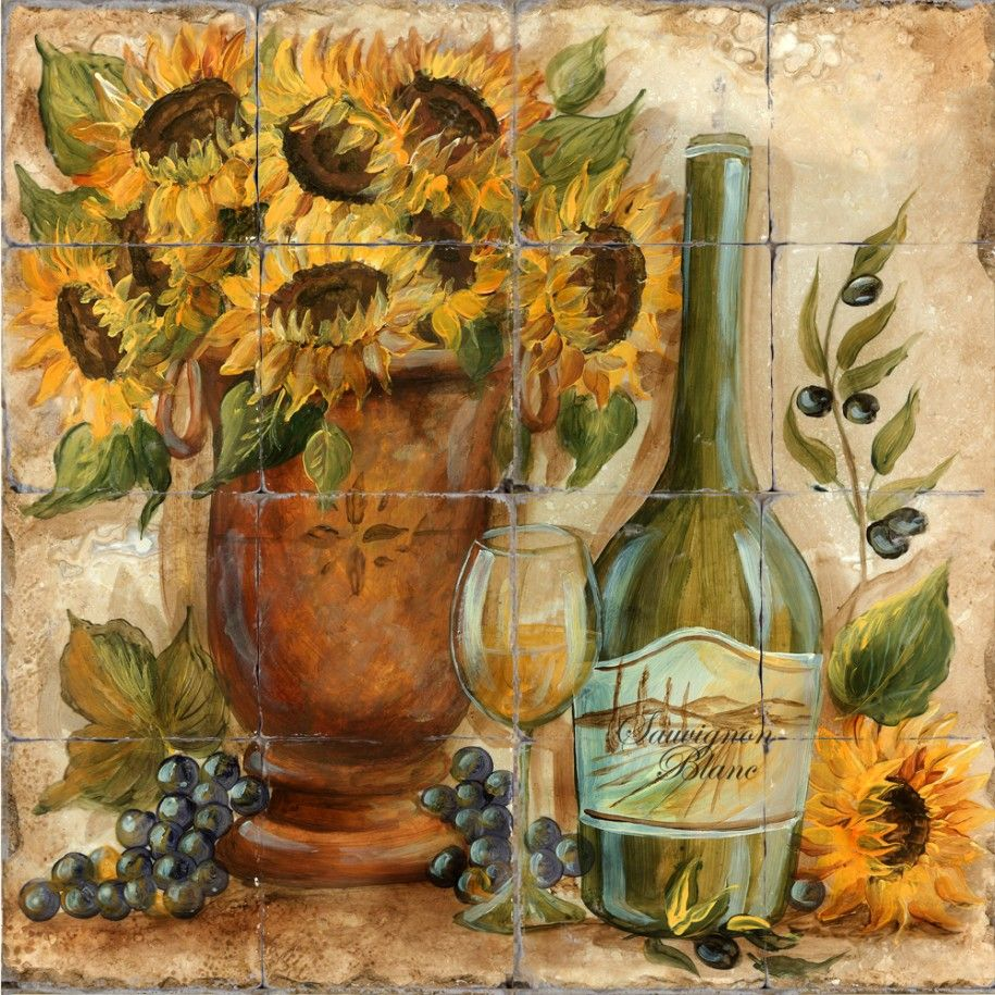 Beautiful Sunflower Kitchen Design Idea Amazing Printed Tile Sunflower White Wine Sunflower Kitchen Decor