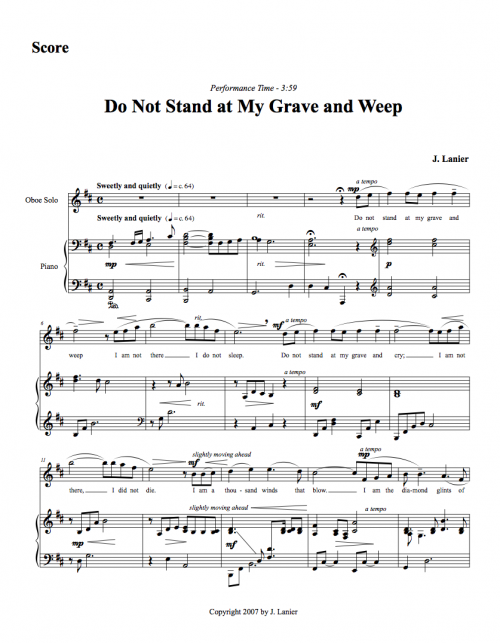 Image Result For Do Not Stand At My Grave And Weep Poem  Music