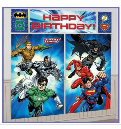 Justice League Scene Setter Happy Birthday Wall Decoration Banner