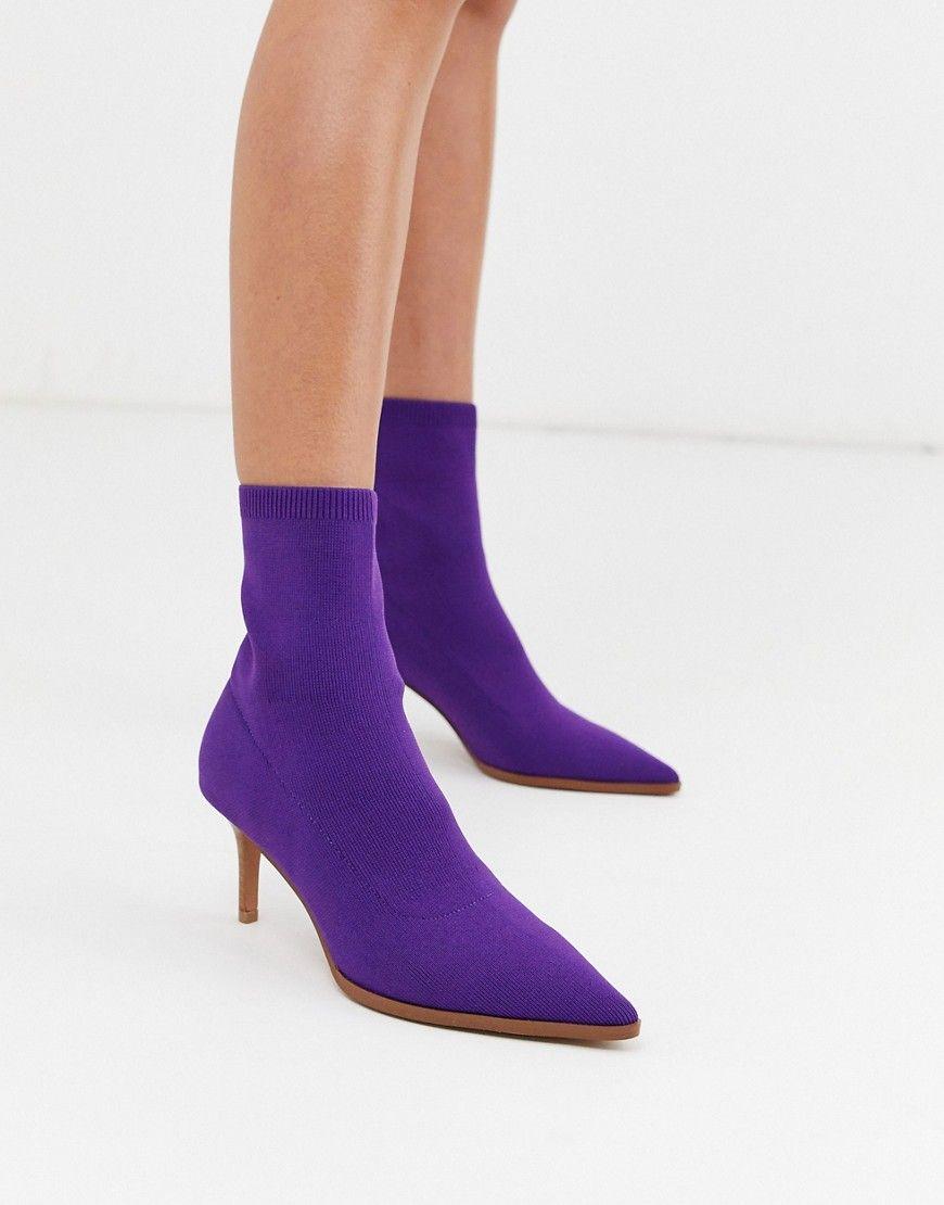 Asos Design Recharge Kitten Heel Sock Boots In Purple Modesens 2020