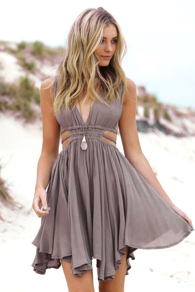 197fc2856f0 A-Line Deep V-Neck Short Grey Chiffon Homecoming Dress with Sequins ...