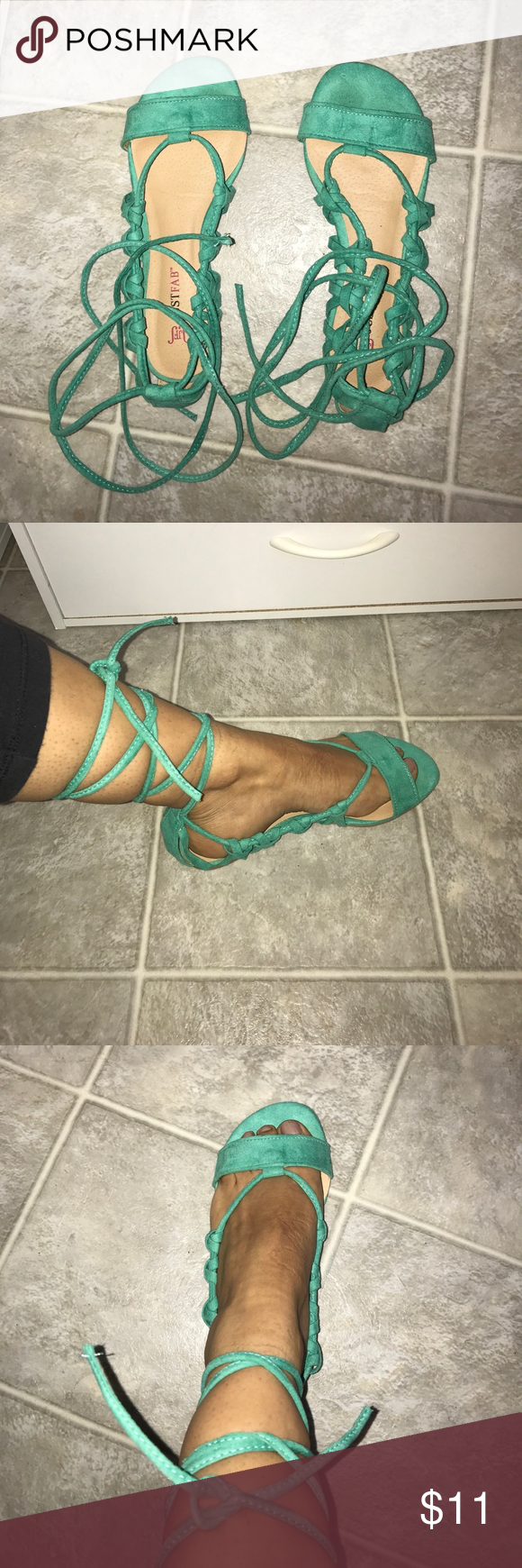 Lace up flat sandals Green flat sandals with laces. Worn a couple of times. JustFab Shoes Sandals