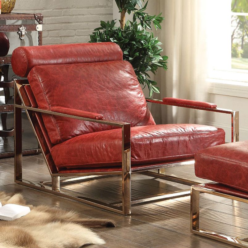 Quinto Accent Chair In Antique Red Top Grain Leather Stainless