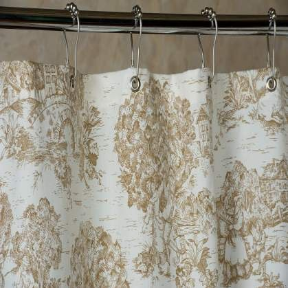 Our Fabric Shower Curtain Features Brown Toile De Jouy Which French Country Pastoral Scenes Over A Warm White Background 72x72