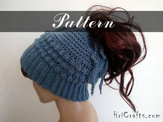 Crochet ponytail hat pattern, Messy bun hat pattern Ponytail beanie Slouchy ponytail beanie Messy bun beanie Crochet bun hat, Crochet beanie #messybunhat