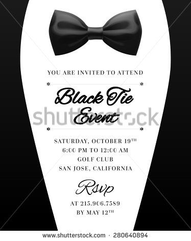 Elegant Vector Black Tie Event Invitation | Men's Invite ...