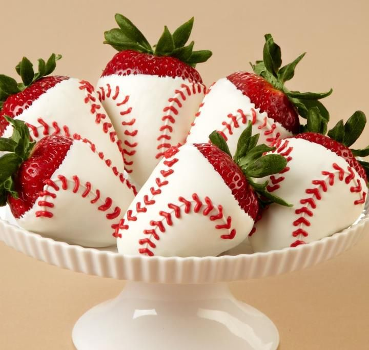 Two favorite things, strawberries and baseball- SO cute!
