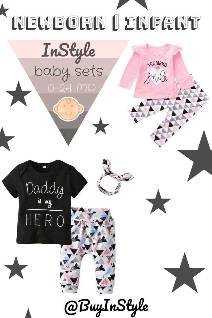 caf1befeb Stylish Newborn Infant Baby Girl Clothes Set   0-24 Months   Daddy Is My  Hero   You Make Me Smile   Short Sleeve T-shirt Top Pants ❤ @BuyInStyle