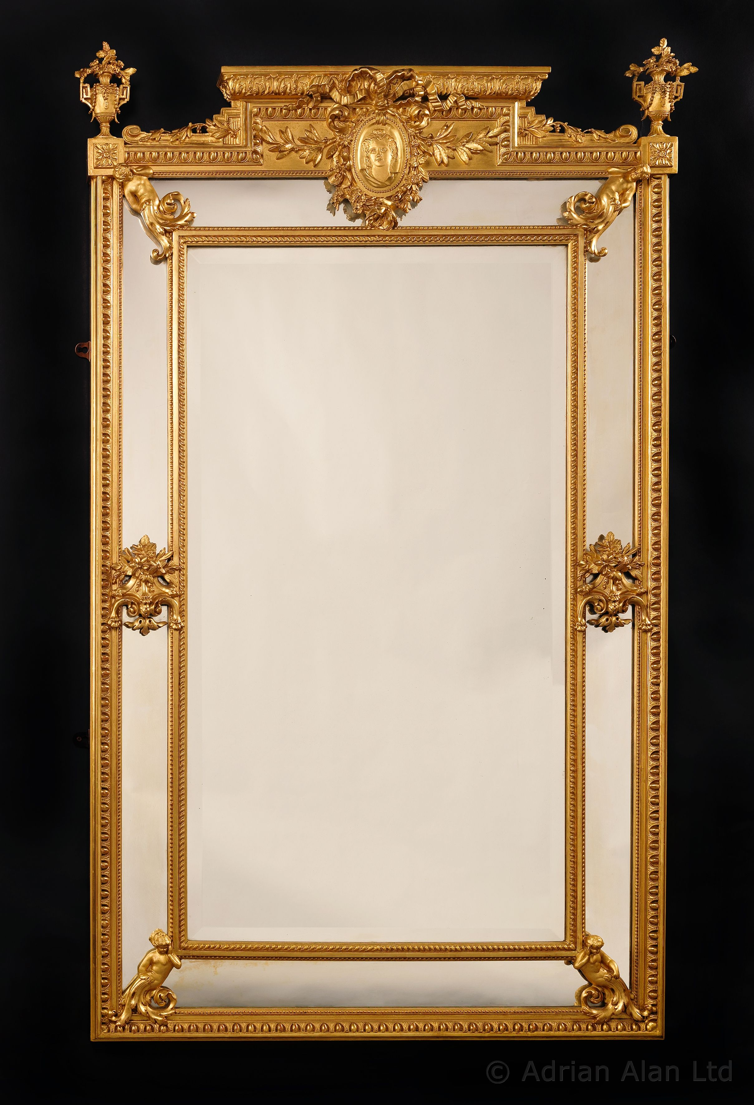 A Very Fine Louis Xvi Style Carved Giltwood And