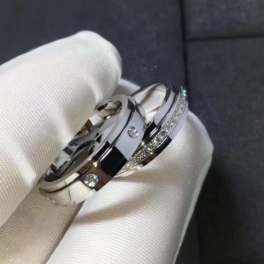 Set Of Piaget Possession Wedding Rings In 18k White Gold