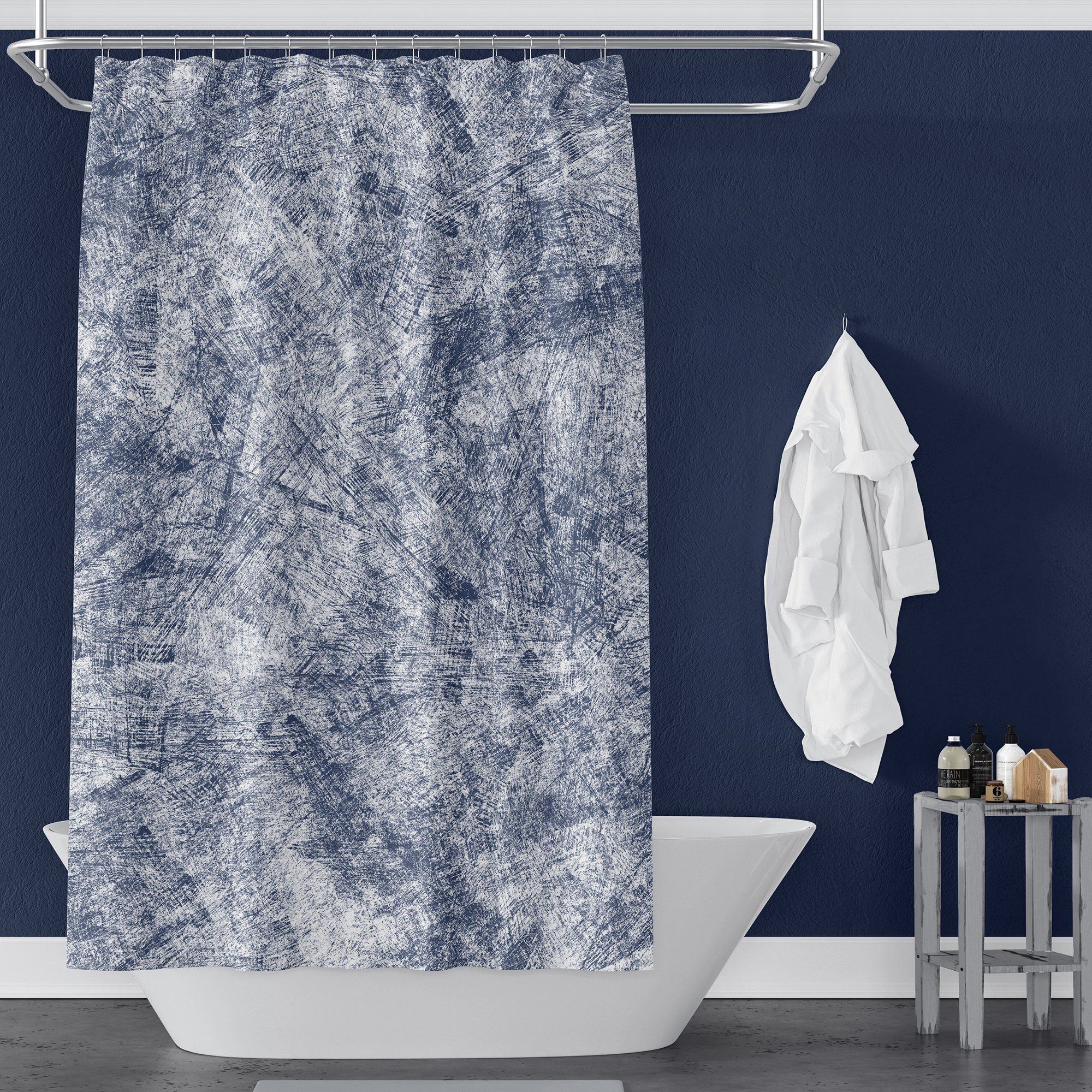Outstanding White And Navy Blue Floral Patterned Shower Curtain Navy Blue Shower Curtain Blue Shower Curtains