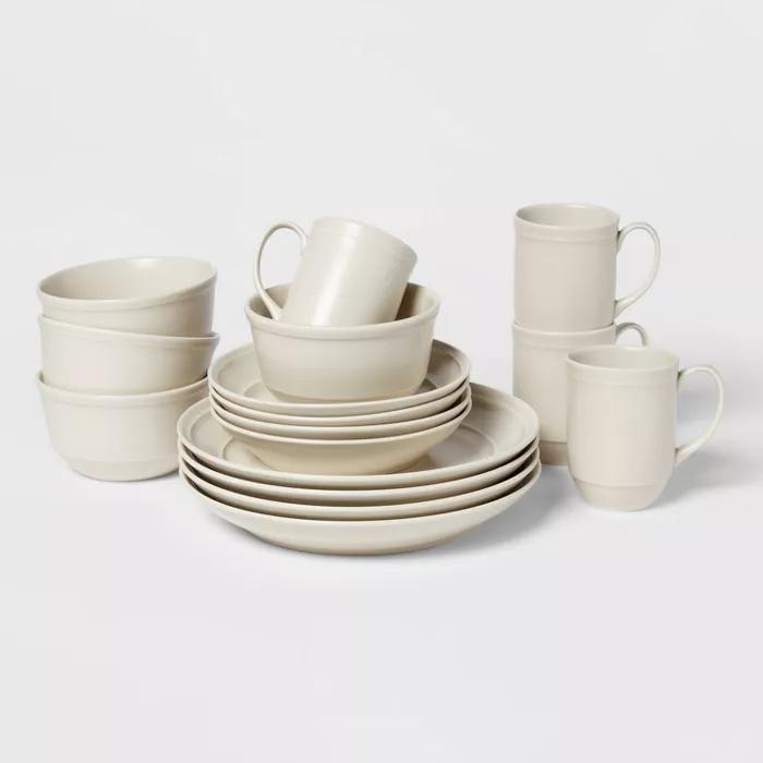 16pc Porcelain Courtland Dinnerware Set White Threshold In 2020 White Dinnerware Set Decorative Dinnerware Dinnerware Set