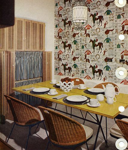 Img4 horse wallpaper wall papers and wallpaper 1956 better homes and gardens check out that wall paper sisterspd