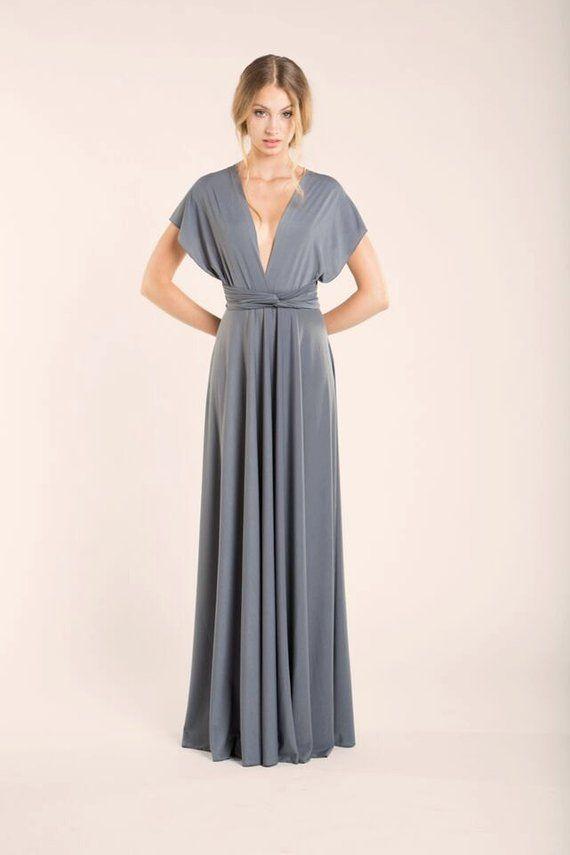Silver Grey Infinity Dress Neutral Long Bridesmaid Dresses