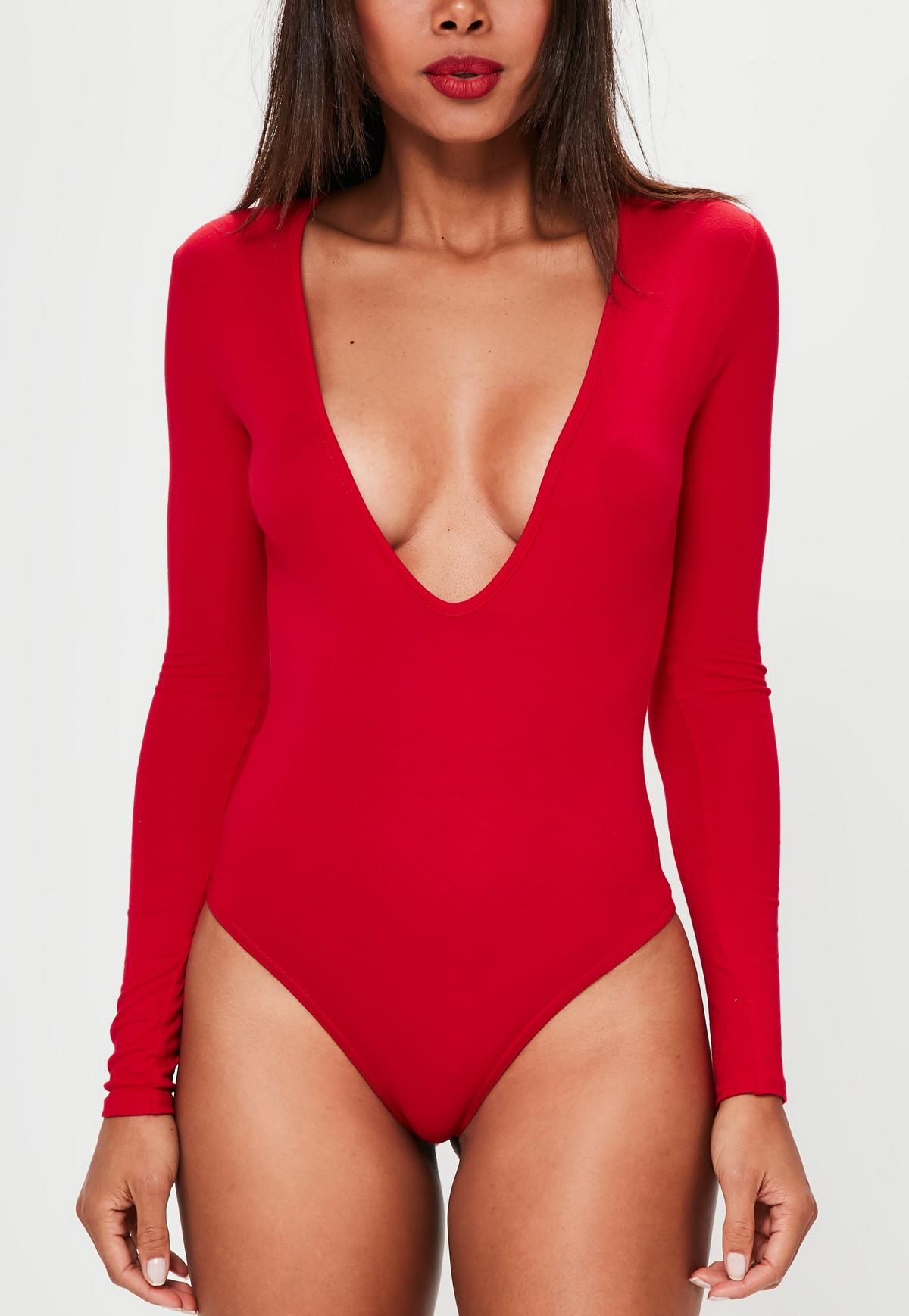 49b12599289a9 Red Long Sleeved V-Neck Bodysuit