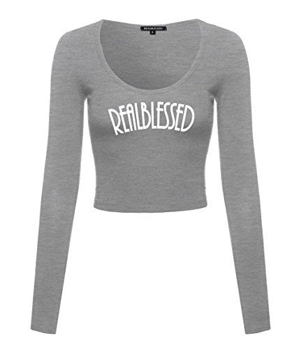 Womens Real Blessed Long Sleeve Cotton Scoop Neck Stretch ...