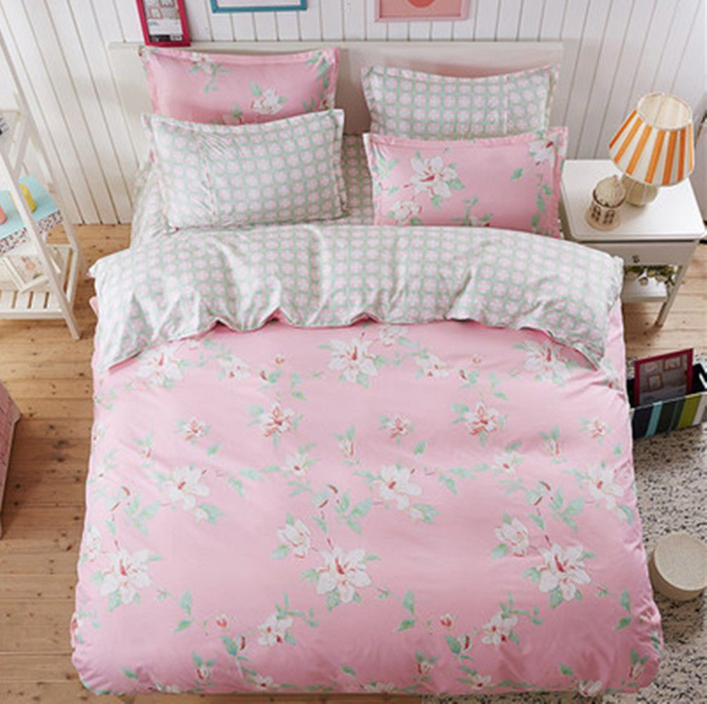 Pink Flower Duvet Cover Pillow Case Quilt Cover Bed Sheet Single