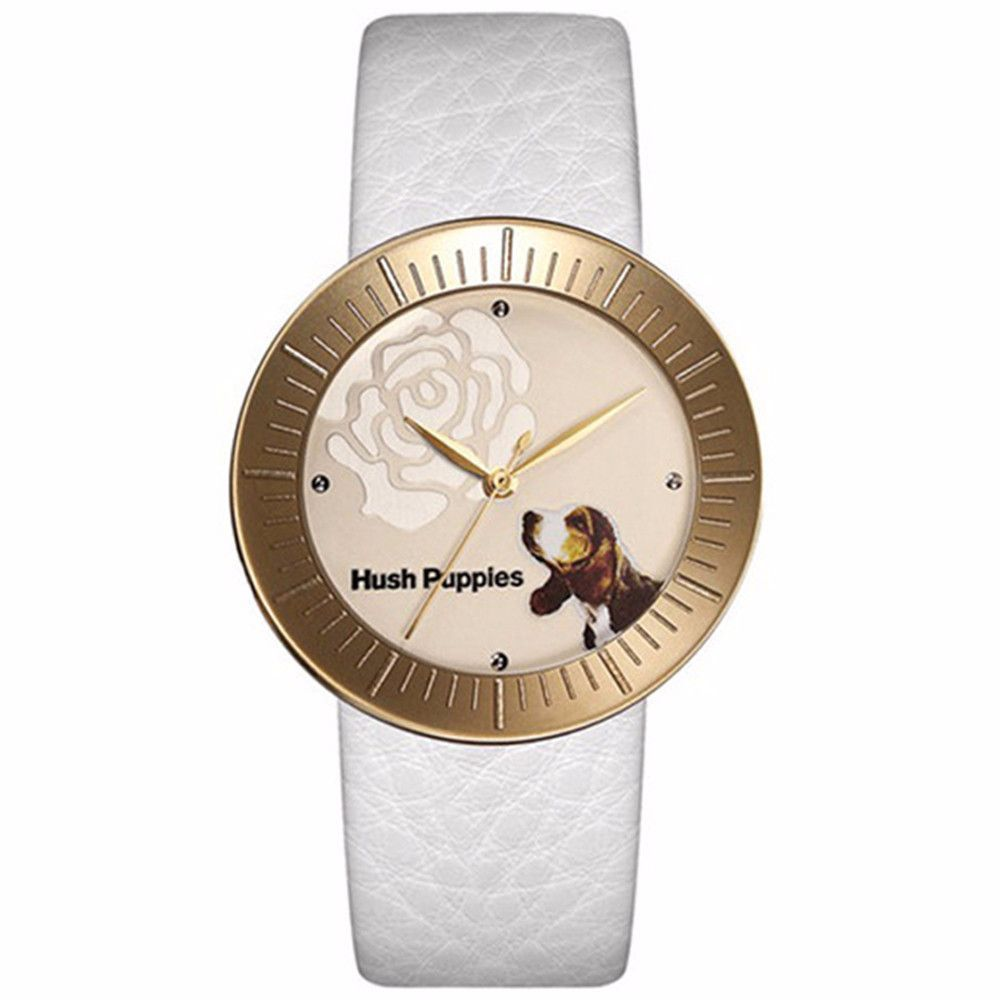 Hush puppies women's white leather strap watch hp.3630l