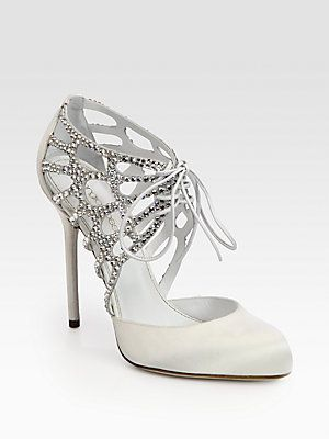 Sergio Rossi Crystal-Coated Satin & Suede Lace-Up Pumps