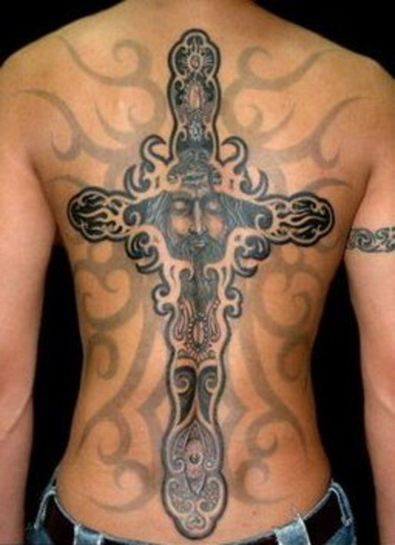 Mens cross tattoo with roses - Find This Pin And More On Mens Tatoos Large Cross Tattoo