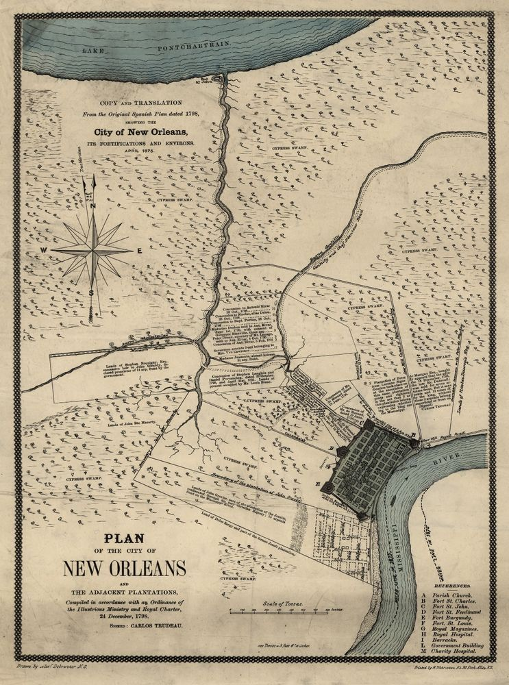 Antique New Orleans Map.1798 Map New Orleans Antique America Vintage Home Decor 20 X14