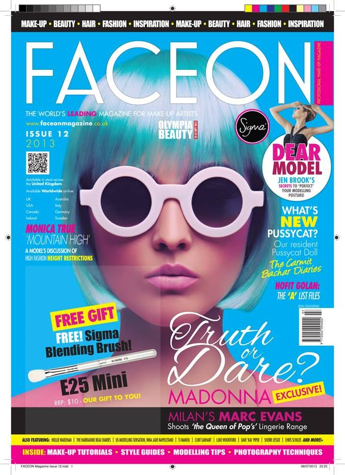 So exciting! My Make-up work is on the front cover of FaceON Magazine. 12th Edition . The first to be available in over 1,600 UK Stores (including WHSmith) and serving 88 countries Worldwide.