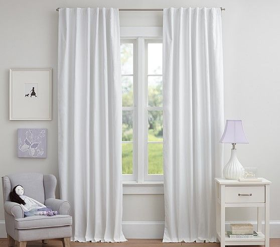 Twill Blackout Curtain White Paneling Nursery Blackout Curtains