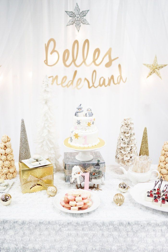 Silver And Gold Winter Onederland Birthday Party Kara S Party Ideas Onederland Birthday Party Winter Onederland Birthday Party Christmas Birthday Party