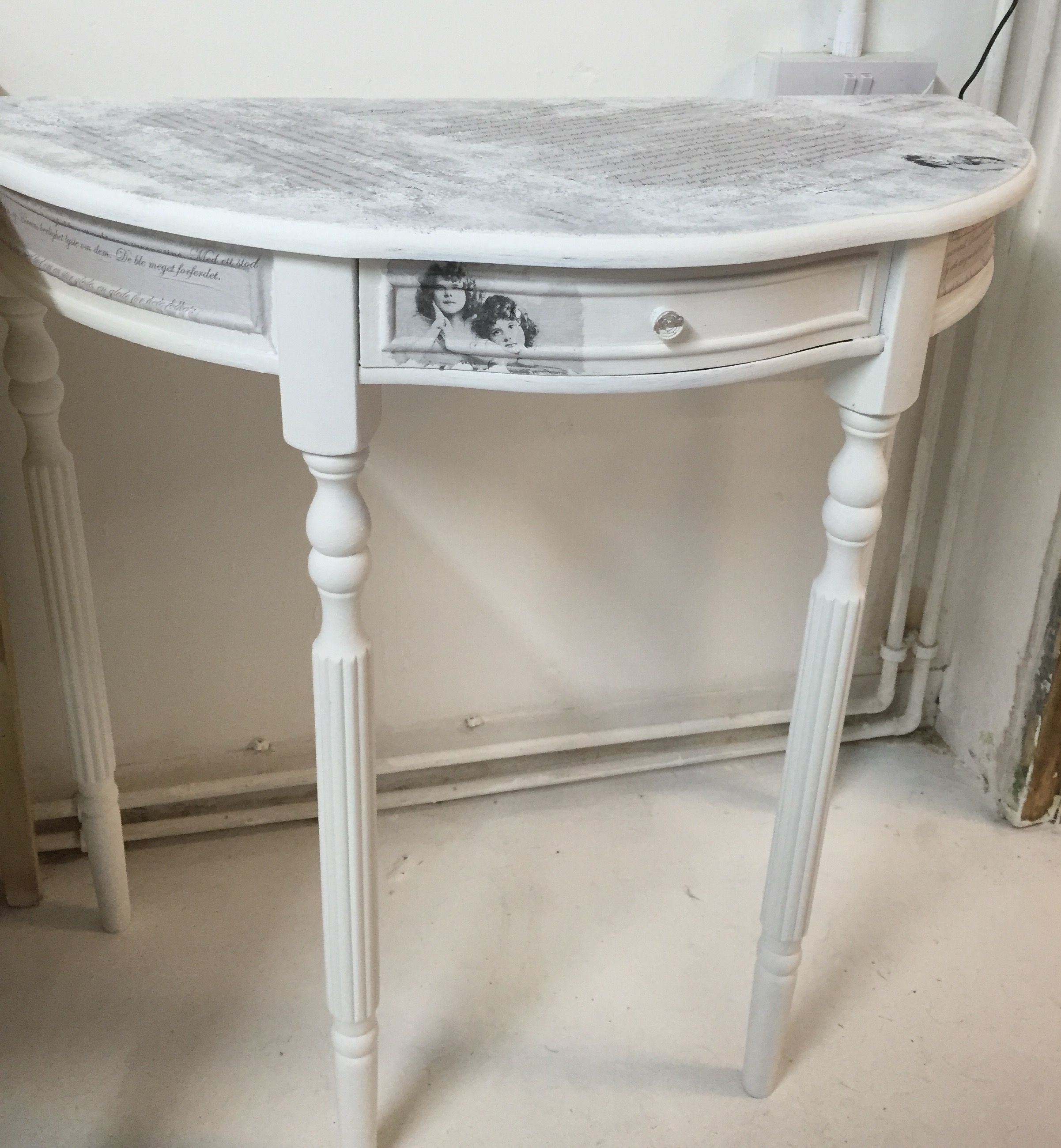 Shabby Chic Half Moon Table With Decoupage Napkins