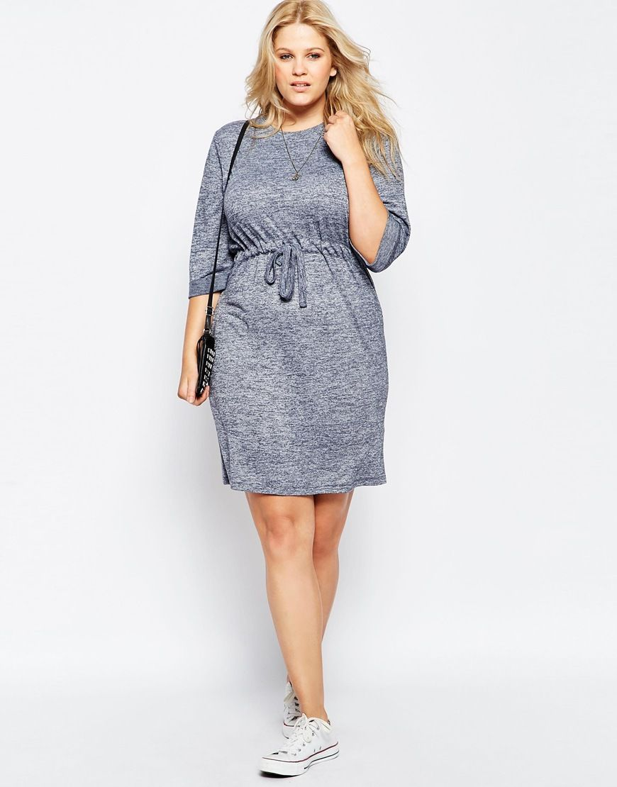 Image 4 of ASOS CURVE Waisted Chuck on Dress in Jersey