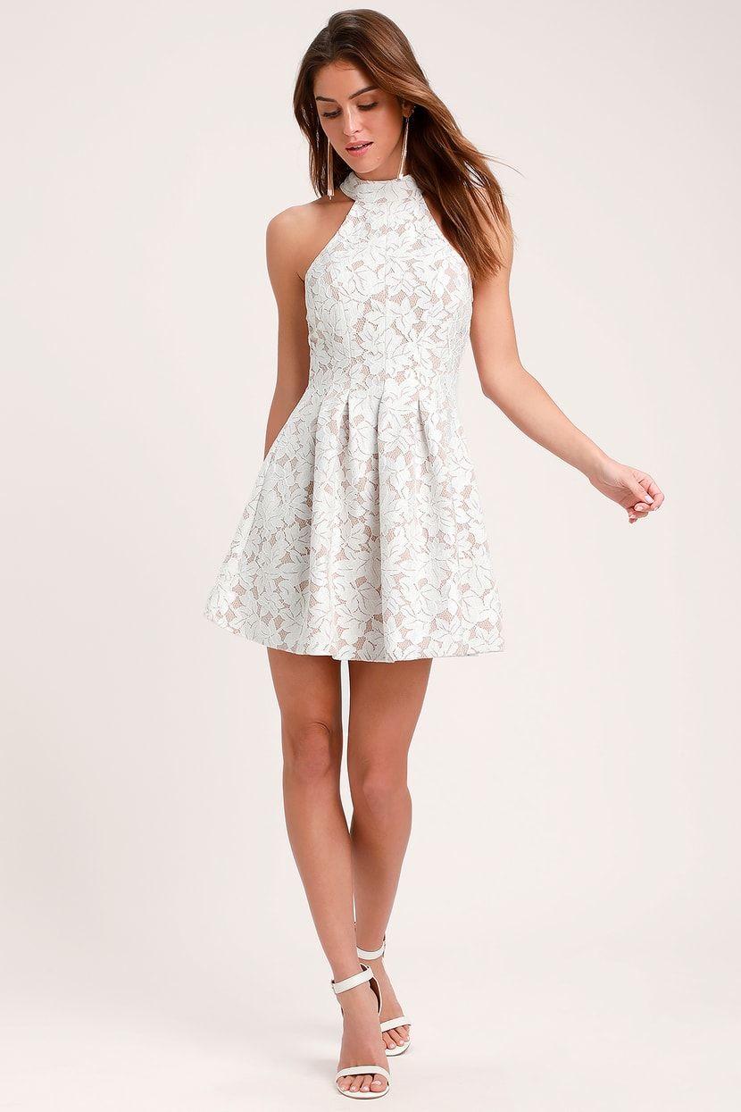 1ddf797992a Seasons of Love White Lace Halter Skater Dress