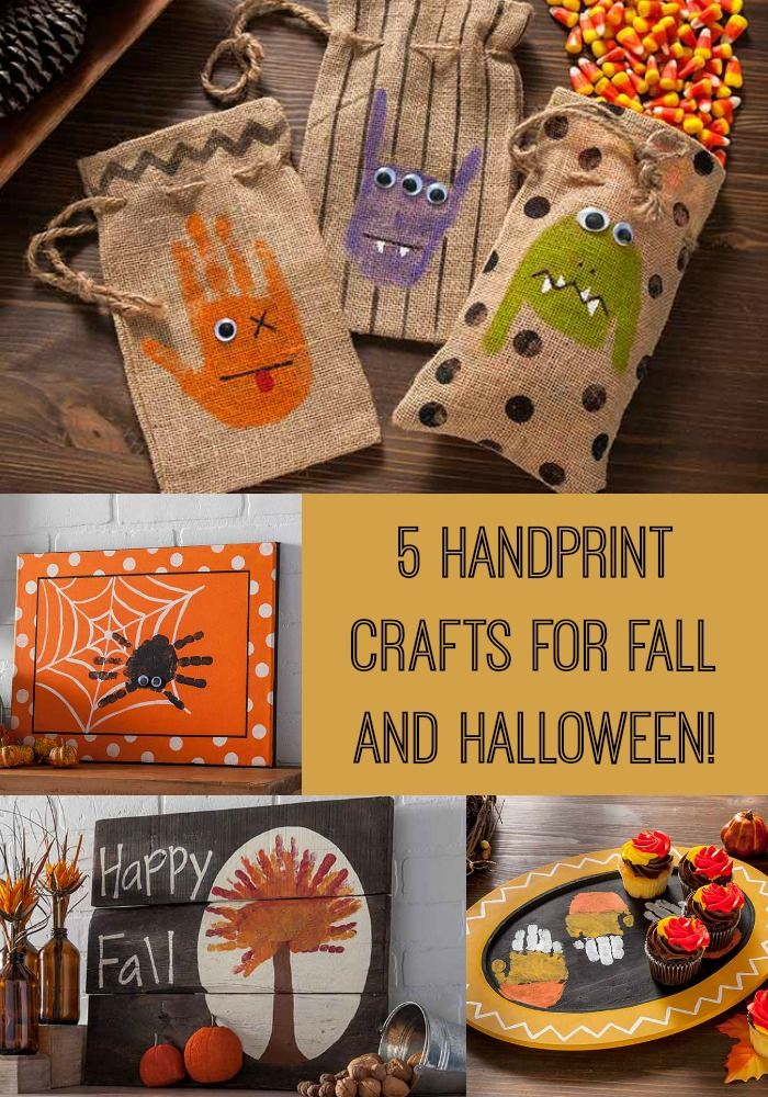 these handprint crafts for fall and halloween are so cute kids will love making them