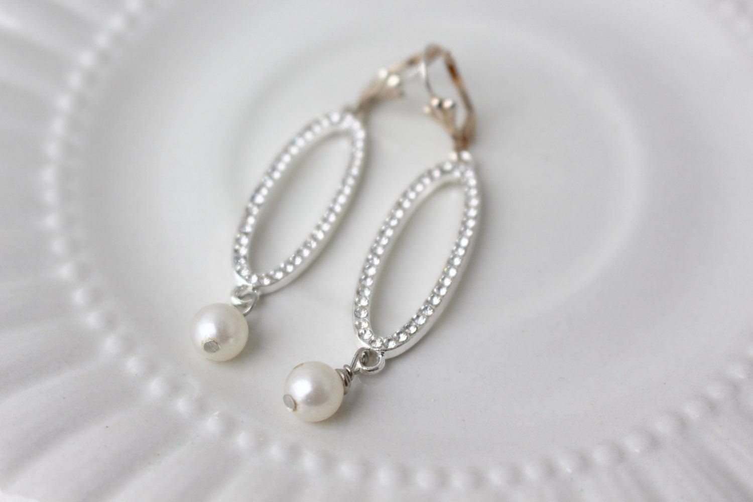 Bridal Rhinestone Pearl Earrings Dangle Oval Up Cycled Cream Vintage Lever  Back Silver Repurposed Wedding Jewelry Bridesmaid Gift Drop Bead