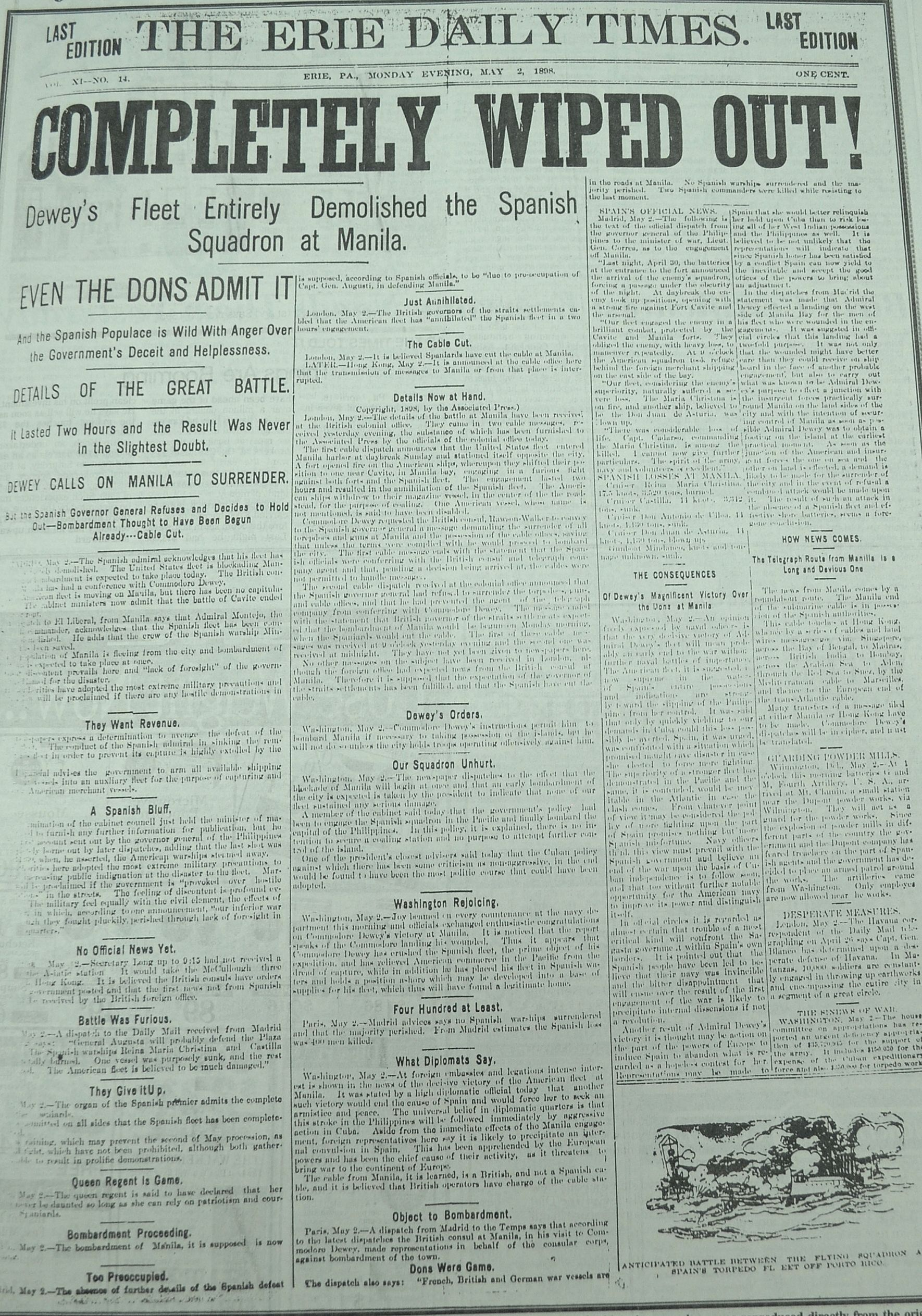 This Front Page Details The Battle Of Manila Bay Fought During The